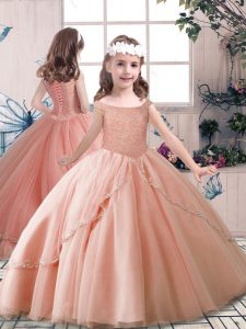 Eye-catching Floor Length Ball Gowns Sleeveless Peach Kids Pageant Dress Lace Up