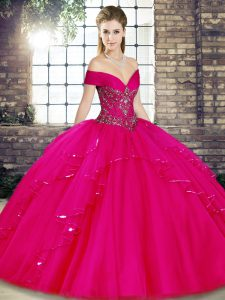 Fuchsia Tulle Lace Up Ball Gown Prom Dress Sleeveless Floor Length Beading and Ruffles