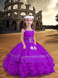 Purple Zipper Straps Embroidery and Ruffled Layers Kids Pageant Dress Satin and Organza Sleeveless