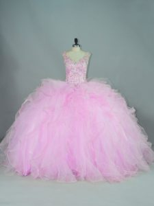On Sale Sleeveless Tulle Brush Train Lace Up 15 Quinceanera Dress in Lilac with Beading and Ruffles