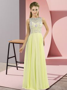 Pretty Floor Length Empire Sleeveless Yellow Prom Evening Gown Zipper