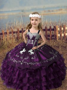 Floor Length Lace Up Winning Pageant Gowns Dark Purple for Wedding Party with Embroidery and Ruffled Layers
