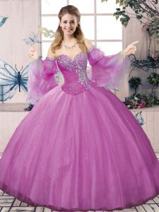 Classical Lilac Sleeveless Floor Length Beading Lace Up Quince Ball Gowns