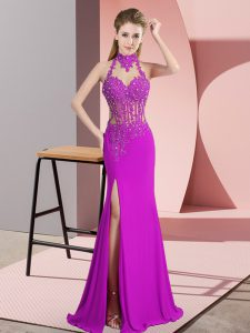 Classical Halter Top Sleeveless Prom Dress Floor Length Lace and Appliques Fuchsia Chiffon