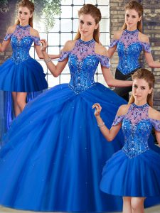 New Arrival Brush Train Ball Gowns Quinceanera Gown Blue Halter Top Tulle Sleeveless Lace Up