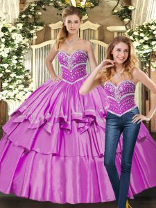 Sumptuous Floor Length Lace Up Sweet 16 Quinceanera Dress Lilac for Sweet 16 and Quinceanera with Beading