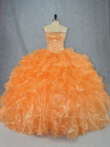 Sweet Orange Strapless Neckline Beading and Ruffles Quinceanera Gown Sleeveless Lace Up