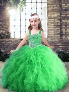 Sleeveless Floor Length Beading Lace Up Little Girl Pageant Gowns