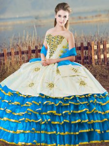 Fabulous Sleeveless Floor Length Beading and Ruffled Layers Lace Up Quinceanera Gown with Blue And White