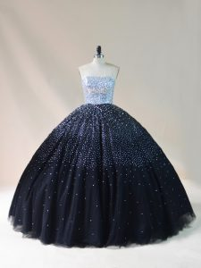 Elegant Floor Length Lace Up Quinceanera Dresses Black for Sweet 16 and Quinceanera with Beading