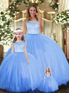 On Sale Ball Gowns Quinceanera Gowns Blue Scoop Tulle Sleeveless Floor Length Clasp Handle