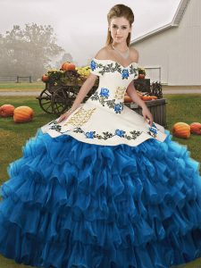Blue And White Off The Shoulder Neckline Embroidery and Ruffled Layers Ball Gown Prom Dress Sleeveless Lace Up