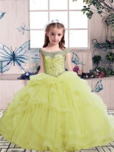Floor Length Yellow Pageant Dress for Teens Tulle Sleeveless Beading
