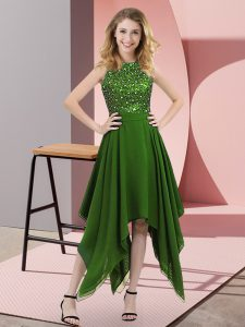 Green Sleeveless Beading and Sequins Asymmetrical Prom Evening Gown