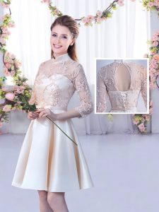 Gorgeous Champagne Quinceanera Dama Dress Wedding Party with Lace and Belt High-neck Half Sleeves Lace Up