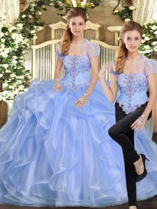 Organza Strapless Sleeveless Lace Up Beading and Ruffles Ball Gown Prom Dress in Lavender