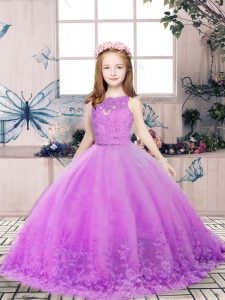 Sleeveless Floor Length Lace and Appliques Backless Girls Pageant Dresses with Lilac