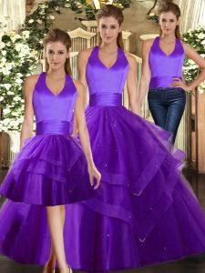 Purple Tulle Lace Up 15th Birthday Dress Sleeveless Floor Length Ruffles