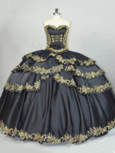 Spectacular Black Sleeveless Embroidery Floor Length Quinceanera Gowns