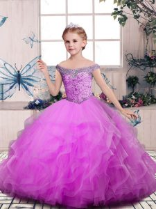 Modern Sleeveless Lace Up Floor Length Beading and Ruffles Pageant Gowns