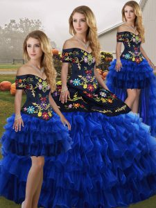 Chic Floor Length Lace Up Ball Gown Prom Dress Blue And Black for Military Ball and Sweet 16 and Quinceanera with Embroidery and Ruffled Layers