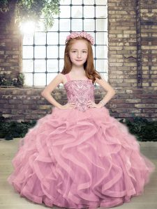 Dazzling Ball Gowns Pageant Dress for Girls Lilac Straps Tulle Sleeveless Floor Length Lace Up