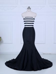 Beautiful White And Black Strapless Lace Up Ruching Prom Evening Gown Brush Train Sleeveless