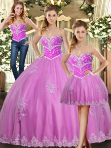 Glittering Floor Length Lace Up Quinceanera Dress Lilac for Sweet 16 and Quinceanera with Beading and Appliques