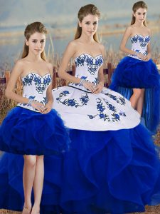 Unique Tulle Sleeveless Floor Length Quinceanera Gowns and Embroidery and Ruffles and Bowknot