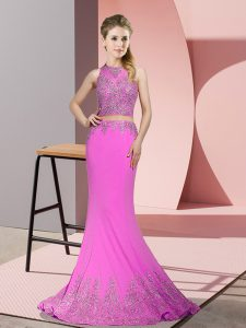 New Arrival Lilac Pageant Dress Womens Satin Sweep Train Sleeveless Beading and Appliques