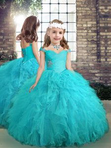 Aqua Blue Lace Up Little Girl Pageant Gowns Beading and Ruffles Sleeveless Floor Length