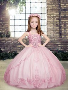 Modern Lilac Tulle Lace Up Little Girls Pageant Dress Wholesale Sleeveless Floor Length Beading