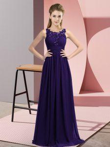 Sleeveless Chiffon Floor Length Zipper Quinceanera Dama Dress in Purple with Beading and Appliques