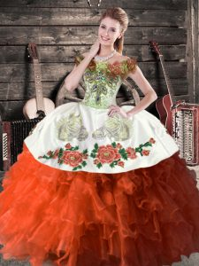 Rust Red Ball Gowns Off The Shoulder Sleeveless Satin and Organza Floor Length Lace Up Embroidery and Ruffles 15 Quinceanera Dress
