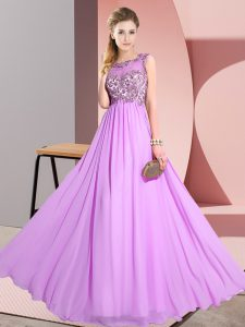 Vintage Lilac Empire Scoop Sleeveless Chiffon Floor Length Backless Beading and Appliques Court Dresses for Sweet 16