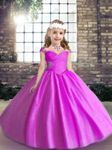 Lilac Sleeveless Tulle Lace Up Pageant Dress for Teens for Wedding Party