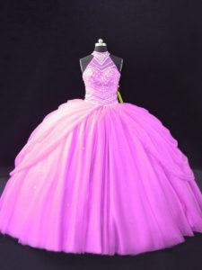 Lilac Lace Up Quinceanera Dress Beading and Pick Ups Sleeveless Floor Length