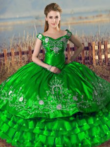Green Lace Up Quinceanera Dress Embroidery and Ruffled Layers Sleeveless Floor Length