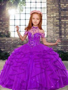 High Class Purple Lace Up Pageant Dress Womens Beading and Ruffles Sleeveless Floor Length