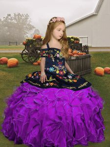 New Style Eggplant Purple and Purple Pageant Dress Party and Wedding Party with Embroidery and Ruffles Straps Sleeveless Lace Up