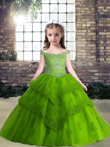 High End Tulle Sleeveless Floor Length Little Girls Pageant Dress Wholesale and Beading