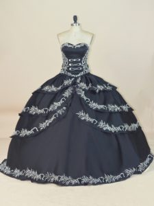 Dramatic Black Lace Up Quince Ball Gowns Embroidery Sleeveless Floor Length