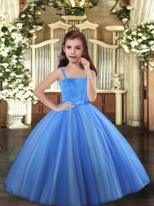Hot Sale Blue and Yellow And White Sleeveless Tulle Lace Up Little Girl Pageant Dress for Party and Sweet 16 and Wedding Party