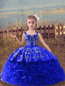 Royal Blue Little Girls Pageant Dress Wedding Party with Embroidery Straps Sleeveless Sweep Train Lace Up