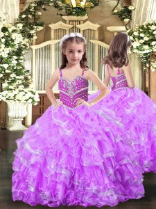 Modern Lilac Straps Neckline Beading and Ruffles Evening Gowns Sleeveless Lace Up