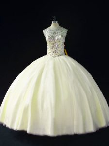 Modern Light Yellow Scoop Neckline Beading Quinceanera Gown Sleeveless Lace Up