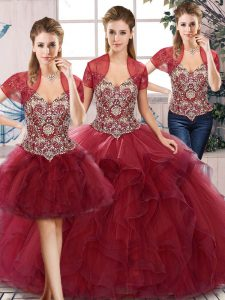 Classical Burgundy Three Pieces Tulle Off The Shoulder Sleeveless Beading and Ruffles Floor Length Lace Up Vestidos de Quinceanera