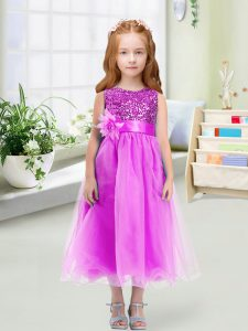 Elegant Organza Scoop Sleeveless Zipper Sequins and Hand Made Flower Little Girls Pageant Gowns in Lilac