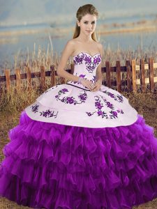 Flirting White And Purple Ball Gowns Embroidery and Ruffled Layers and Bowknot 15th Birthday Dress Lace Up Organza Sleeveless Floor Length