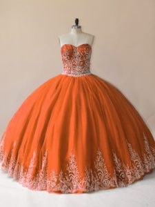 High Quality Sleeveless Tulle Floor Length Lace Up Party Dress for Girls in Orange with Embroidery